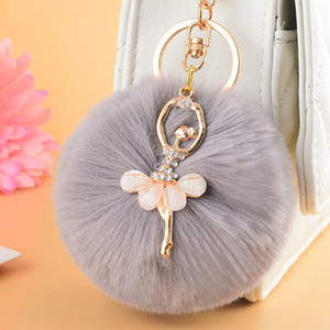 Wholesale ZOEBER Gold Key Chain Pom Pom Key Rings Fake Rabbit Fur Ball KeyChain Pompom Angel Girl Fourrure Pompon Women Bag Charms Jewelry