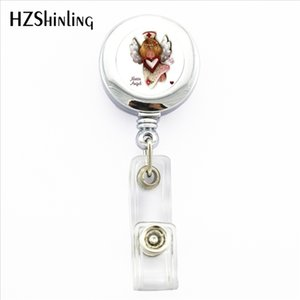 NBH-0021 New Angel Nurse ID Badge Holder Angel Nurse ID Card Holder With Clip Photo Round Retractable Badge Holder