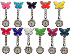 Wholesale new nurse watches for sale - Group buy Mix colors New NurseWatch Brooches Silicone butterfly Chain Nurse Watch NW008