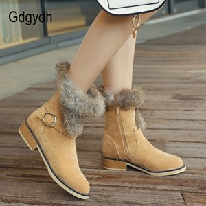 Wholesale Gdgydh Woman Square Heels Winter Snow Shoes Female Rubber Sole Shoes Zipper Ladies Flock Plush Warm Snow Boots Promotion