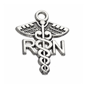 Wholesale Hot Alloy Medical Sign RN Registered Nurse Charms Catholic Jewelry Findings AAC191