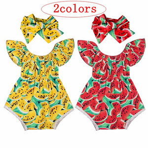 Wholesale 0 T Girl Summer Rompers Infant Casual Baby Girls Jumpsuit Watermelon Print Playsuit Headband Butterfly sleeves Outfits