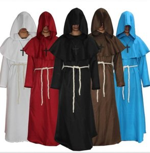 Wholesale Halloween Cosplay Costume Medieval magician robes Medieval Frock Robe cosplay Monk Costume Shaman Priest Cos clothes