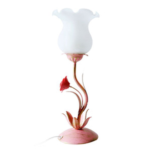 Wholesale OOVOV Pink Iron Flower Girl Table Light Creative Princess Room Table Lights Bedroom Bedsides Desk Lamps