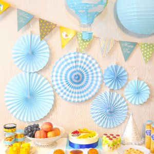 Wholesale 6pcs Colorful Paper Flowers Paper Pinwheel Fan Craft Origami Wedding Home Baby Shower Birthday Party Background Wall Decorations