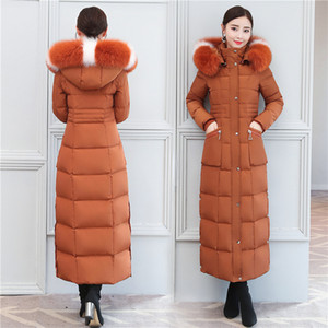 ingrosso piume di piume d'anatra-Piumino Duck Down Coat Winter Parka Donna Lungo Tops Real Big collo di pelliccia Warm Soprabito Slim Fit Capispalla New Fashion