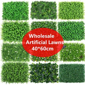 Wholesale 40 cm Artificial Plants Hedge Lawn Boxwood Hedge Fake Lawn Garden Backyard Home Decor Simulation Grass Turf Rug Lawn Outdoor Plants wall
