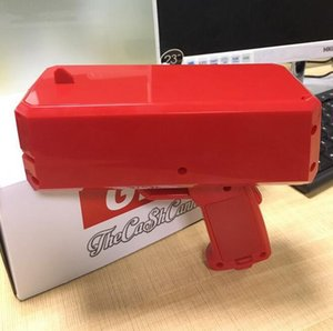 Wholesale 2018 Super men Cash Cannon Money Gun Brand new dollar money bill gun Cash Launcher Cool red Car party Interior Decorations Free Shipping