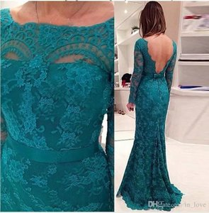Turquoise Lace Mother of the Bride Dresses Long Sleeve Backless Boat Neck Floor Length Mermaid Evening Gowns Formal Wedding Guest Dress on Sale