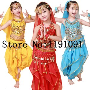 Wholesale Child belly dance set dance clothes india performance wear Top Pant Belt Headband Bracelet colors VL