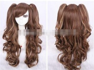 Wholesale cos brown mix long curly cosplay wig two pigtail gift