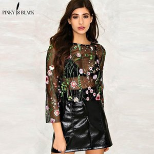 Wholesale Pinky Is Black Sexy Flowers Embroidered Mesh Shirts See Through Transparent Sleeve Blouse Women Ladies Casual Tops Blusas