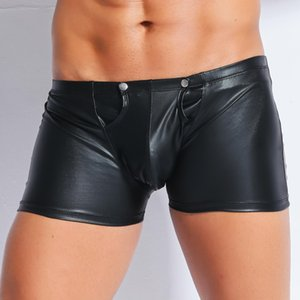 Wholesale Sexy lingerie men's leather tight shorts zipper open sexy adult products