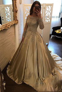Wholesale Gold Dresses Off the shoulder Evening Formal Dress With Lace Long Sleeves 2018 New Arrivals Satin Princess A line Illusion Prom Dresses