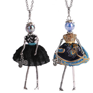 Wholesale New Women Doll Cute Black Long Necklaces Pendant Hot Dress Baby Girls Maxi Necklace Brand Fashion Statement Jewelry