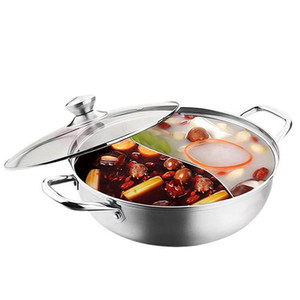 Wholesale 30cm pc Top Quality Welding polishing Stainless Silver Steel Set Little Thick Duck Hot Pot Ruled Cook With glass cover