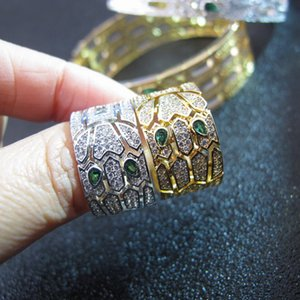 Wholesale Luxury designer european CZ diamonds animal punk ring k white yellow gold plated jewelry for women