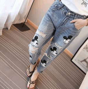 2016 Special Offer Softener Pockets Patchwork Low Fashion Boyfriend Jeans for Women Hole Vintage Girls Denim Pencil Pants
