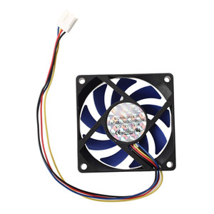pc cpus al por mayor-Freeshipping V DC mm Caja de computadora de pines CFM PWM CPU PC Fan Azul Negro