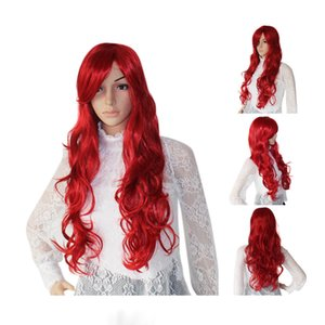 Wholesale Fashion Long Wine Red Wavy Curly Women Lady Cosplay Anime Hair Wig Wigs Wig Cap