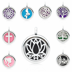 Wholesale Lotus Flower Cross Mermaid mm Magnetic Essentional oil Perfume Aromatherapy Diffuser Locket Pendant with pads Jewelry Making Women