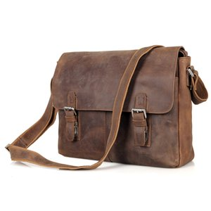 Wholesale 100 Genuine Leather Briefcase Men Bag Business Handbag Inch Laptop Shoulder Bags Tote Natural Skin Men Briefcase