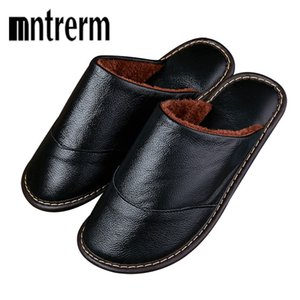 Wholesale Mntrerm Men Winter Warm Home Slippers Couple Thick Plush Non slip House Shoes Men Indoor Floor Bedroom Genuine Leather Slippers