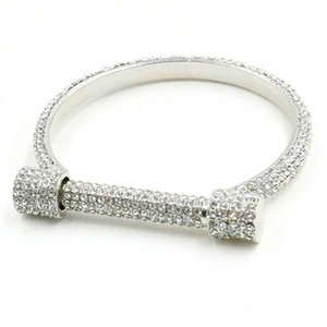 Wholesale New Design Luxury Wedding Austrian U Shaped Full Crystal Bracelets Women Horseshoe Charm Silver Rhinestone Bracelets Bangles Fashion Jewelry