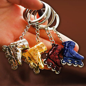 Wholesale Metal Wheel Can Turnable Ice Skates Keychain Roller Skate Keyring Toy Key Chain Skating Shoes Key Rings