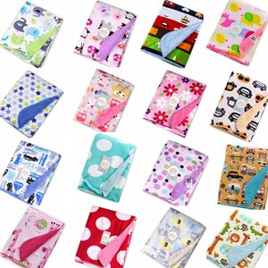 Wholesale 20 styles Kids animal Blankets Polyester print Blankets infant Swaddling Double layer baby Sleeping Bag towel cm GGA673