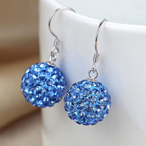Wholesale white beads for sale resale online - Fashion Parts Pairs mm mm Jewelry hot sale new Rhinestone white New disco Ball beads clay Crystal Earrings for Women Dangle