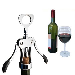 Wholesale 1pc Professional Stainless Steel Wine Bottle Opener Handle Pressure Corkscrew Red Wine Opener Kitchen Accessory Bar Tool