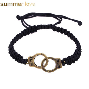 Wholesale Trendy Freedom Handcuff Bracelets Personality Black Handmade Woven Rope Couple Braided Bracelet For Women Men DIY Jewelry Gift