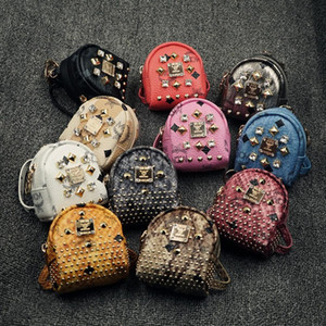 Wholesale Kids Coin Purses Fashion Rivets Diamond Design Bags Car Key Pendant Bag With Ring Girls PU Leather Card Bag Mini Shoulders Bags Colors