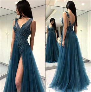 Sheer Lace Long Evening Dresses 2018 Sheer Tulle Lace Applique Beaded Split Sweep Train Backless Prom Dresses Party Prom Wear BA9368 on Sale