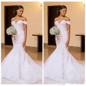 Wholesale African New Black Women Off Shoulder Lace Appliques Mermaid Wedding Dresses Bridal Gowns Slim Beautiful Ladies Vestidos Custom Made
