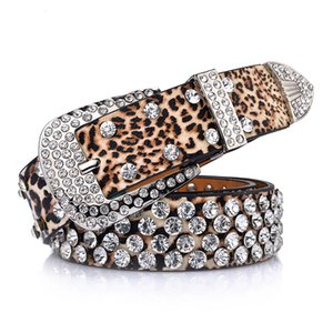 Top Selling New Wild Lady Belt Fashion Straps Female Leopard Pattern Rhinestone Inlaid Belt Jeans Waistband