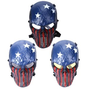 Wholesale 3 Colors Tactical Impact Resistant Paintball Protection Cosplay PC Lens Skull Full Face Mask Lens Cycling Face Mask