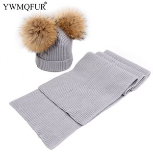 Wholesale Autumn Winter Warm Knitted Hat Scarf Sets For Kids 1 to 2 Years Old And Thick Adult Women Caps Scarves Two Size 2018 New Arrival