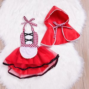 Wholesale Newborn Cosplay Baby Girl Red Tutu Dress Little Red Riding Hood Photo Prop Costume Girls Party Dress Cape Cloak Outfit