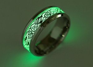 Wholesale New Mens Ring Luminous Dragon Rings for Men Black Gold Silver Stainless Steel Women Rings Glow In The Dark Male Ring Jewelry