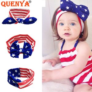 Wholesale Quenya Patriotic Boutique th of July Baby Hair Bows Headband Independence Day Hair Barrettes American Flag Bows For Baby and Girls Kid