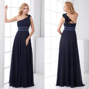 Navy Blue Cheap Chiffon Bridesmaid Dresses One Shoulder Beads Maid of Honor Wedding Guest Gowns High Waist Cheap Long ZPT202 on Sale