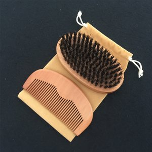 Wholesale Hair Brush and Comb Kit Supplier Peach Wood Comb Boar Bristle Hair Brush Salon HairCut Fade Comb over Beard Style Xmas Gift