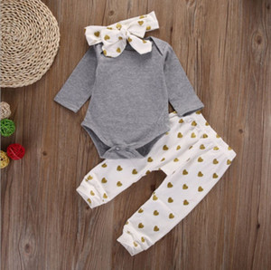 Wholesale Cute newborn infant baby girls clothes T shirt tops pants leggings headband outfits set baby romper suit