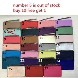Wholesale brand designer women leather wallets wristlet women purses clutch bags zipper Card bag colorful