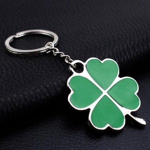 DHL car keychains accessories Leaf Keychain Fashion four Leaf Clover Lucky Key Chain Jewelry Keyring Wedding Party nf