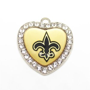 Wholesale Brand New heart Dangle Charms Designs Rhinestone Sports Football Pendant Hanging Charms DIY Necklace Pendant