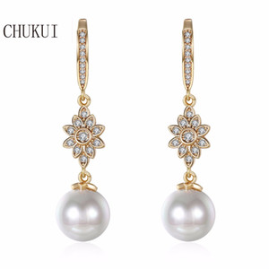 CHUKUI Long Zircon Pearl Drop Earrings Female Korean Gold Faux Pearl Rhinestone Hanging Earrings Luxury Bijoux 10 mm