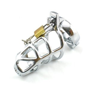 Newest Desige Male Chastity Device Stainless steel Cock Cage Metal Penis Lock bondage Cook ring Sex Toys